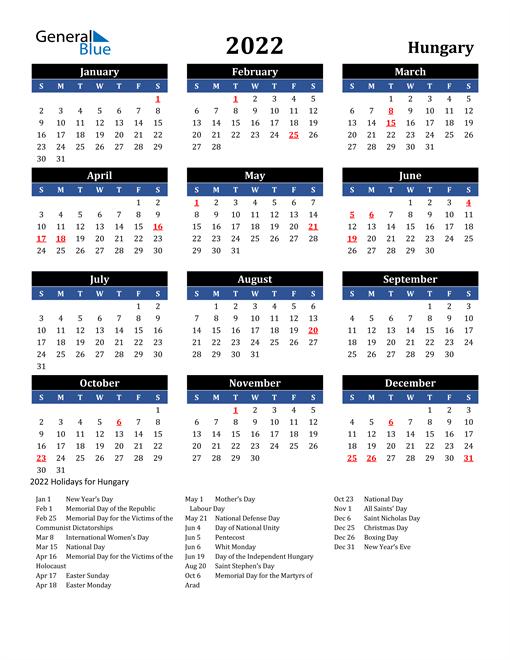 2022 Hungary Free Calendar