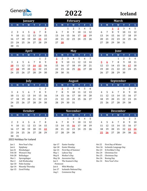 2022 Iceland Free Calendar
