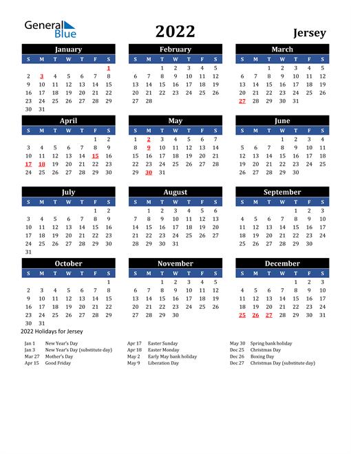 2022 Jersey Free Calendar