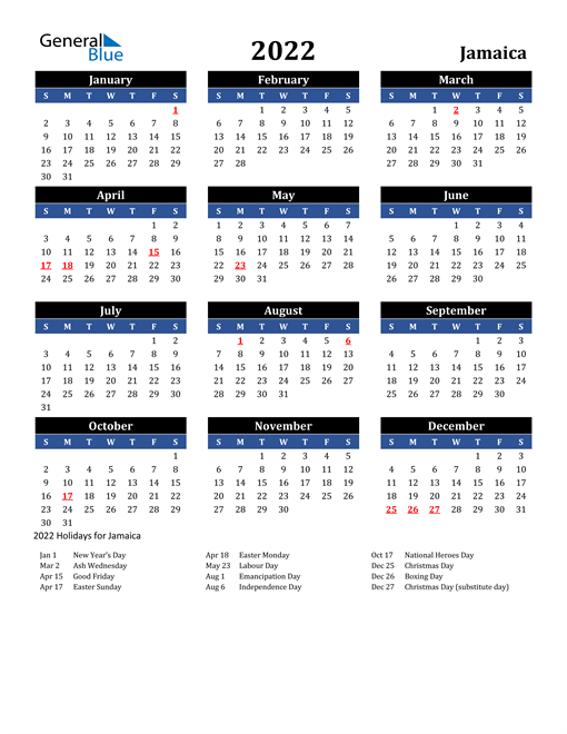 Image of Jamaica 2022 Calendar in Blue and Black with Holidays