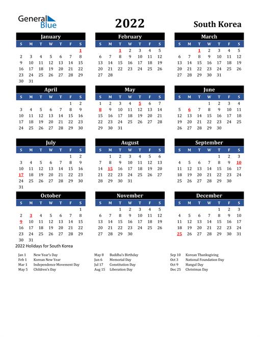 2022 South Korea Free Calendar