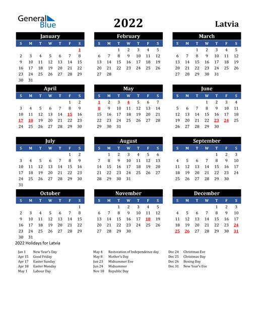 2022 Latvia Free Calendar