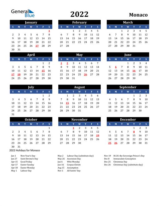 2022 Monaco Free Calendar