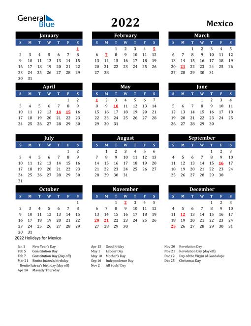 2022 Mexico Free Calendar