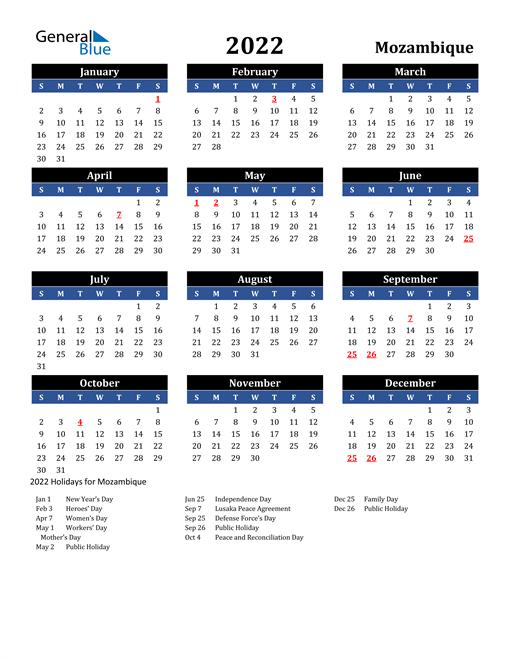 2022 Mozambique Free Calendar