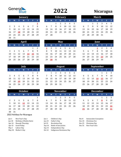 2022 Calendar - Nicaragua with Holidays