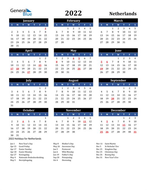 2022 Netherlands Free Calendar