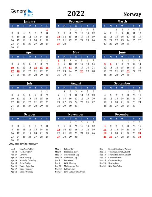 2022 Norway Free Calendar