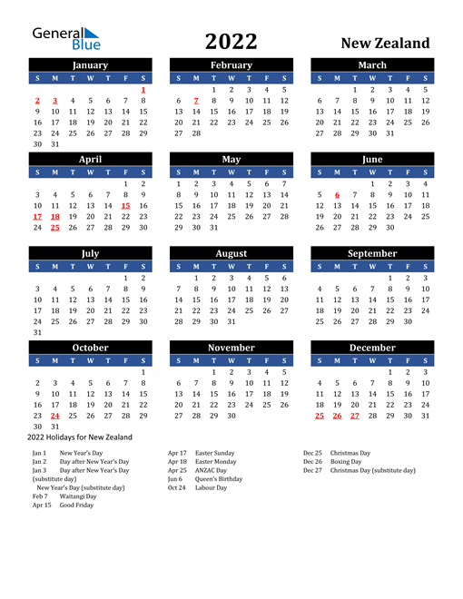 2022 New Zealand Free Calendar