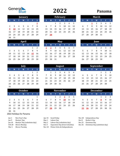 2022 Panama Free Calendar