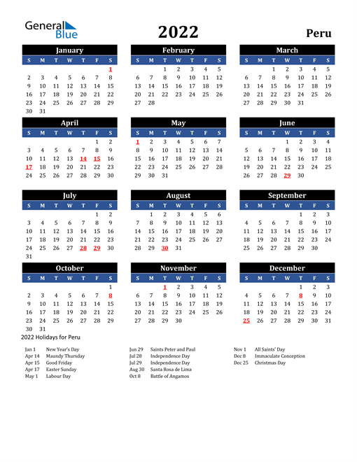 Image of Peru 2022 Calendar in Blue and Black with Holidays