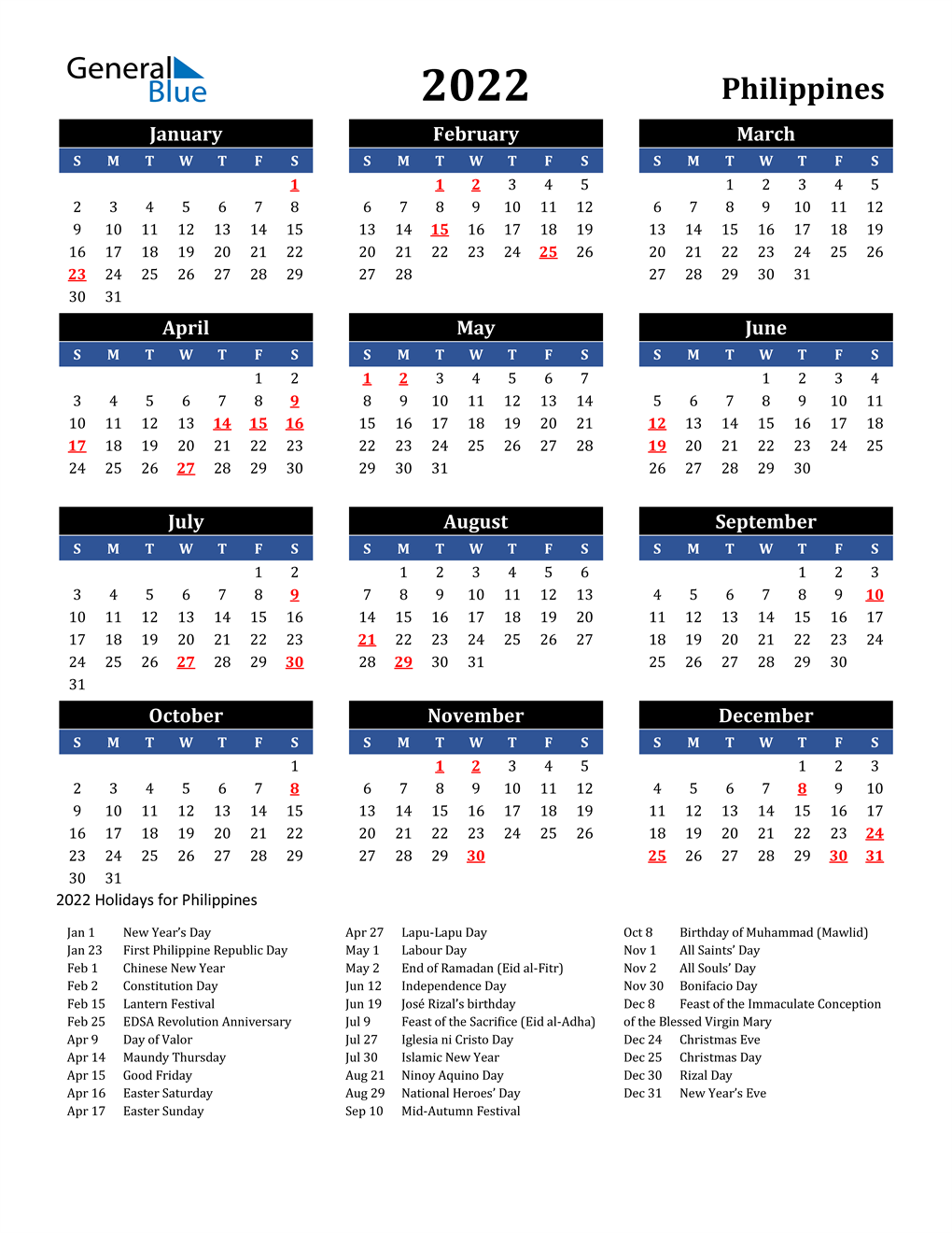 2022 Philippines Calendar With Holidays