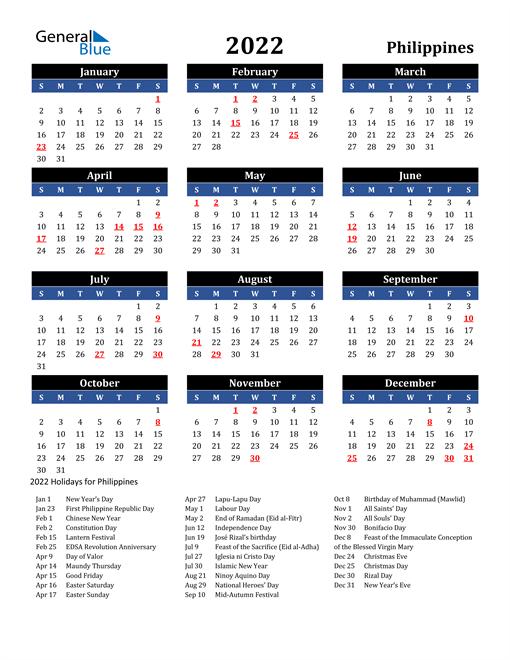2022 Philippines Free Calendar