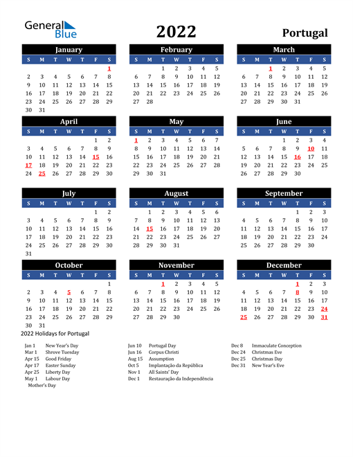 2022 Portugal Free Calendar