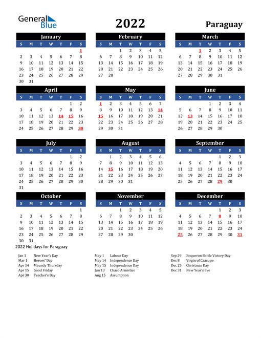 2022 Paraguay Free Calendar
