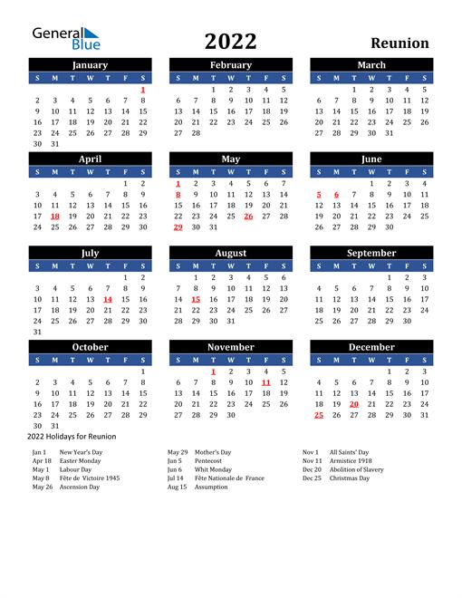 2022 Reunion Free Calendar