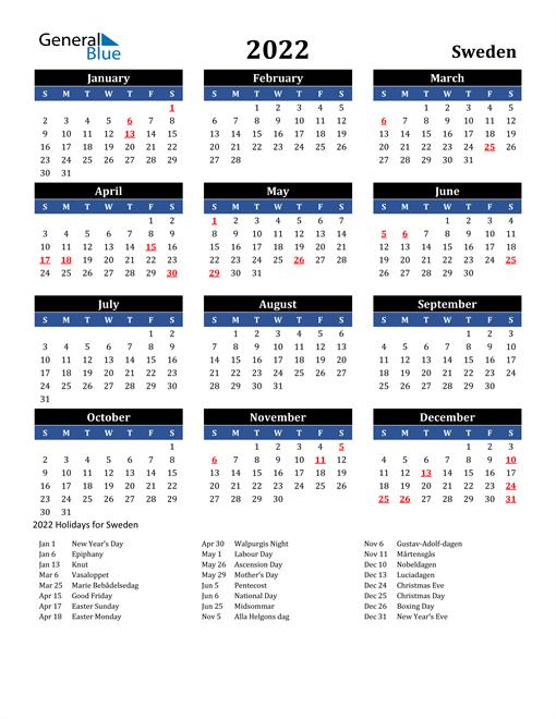 2022 Sweden Free Calendar