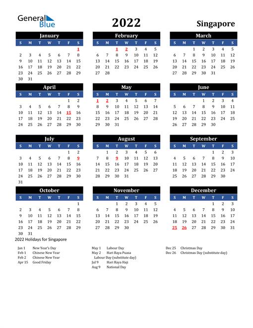 2022 Singapore Free Calendar