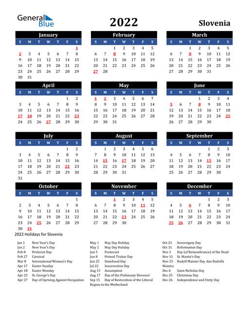 2022 Calendar - Slovenia with Holidays