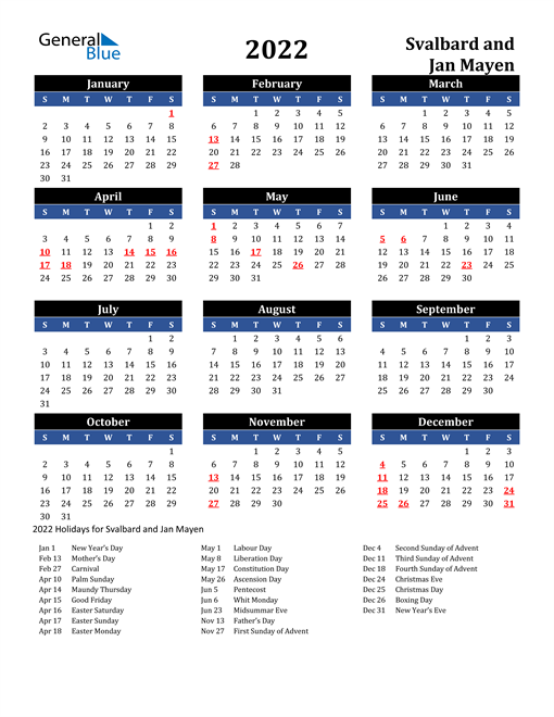 2022 Svalbard and Jan Mayen Free Calendar