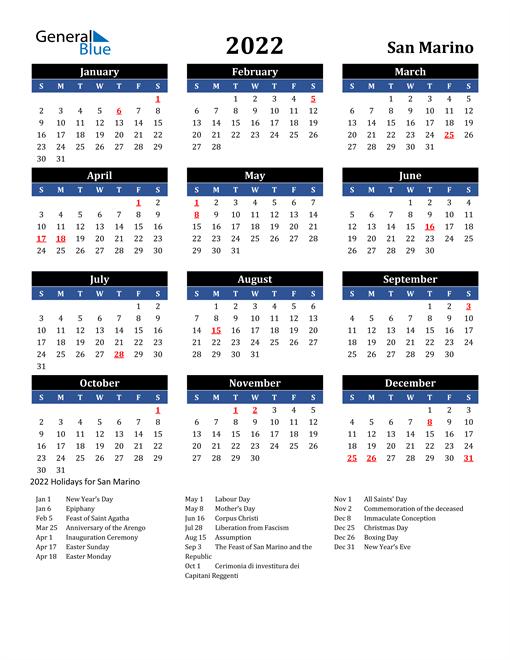 2022 San Marino Free Calendar