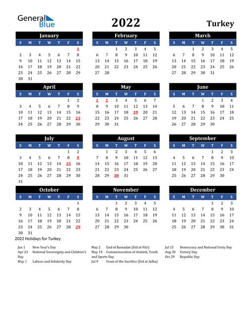 2022 Turkey Free Calendar