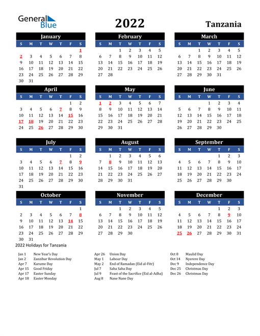 2022 Tanzania Free Calendar