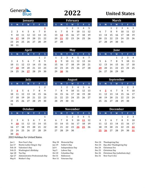 2022 United States Free Calendar