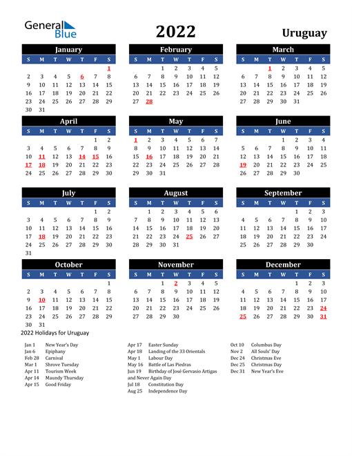 2022 Uruguay Free Calendar