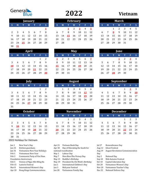 2022 Vietnam Free Calendar