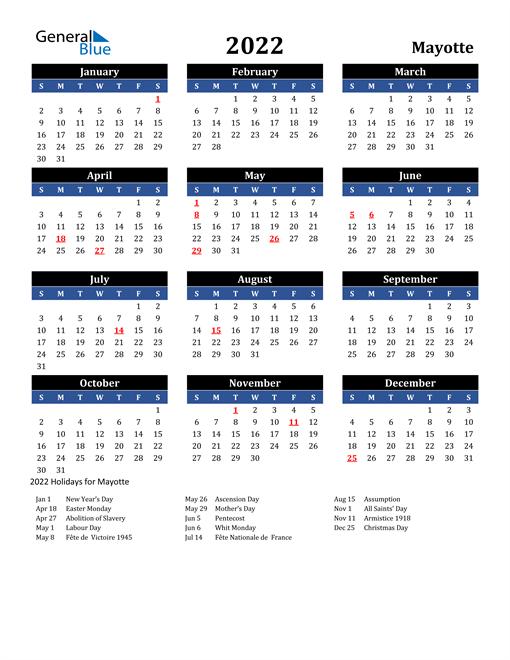 2022 Mayotte Free Calendar