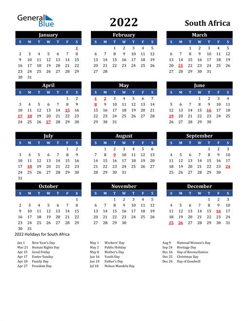 2022 South Africa Free Calendar