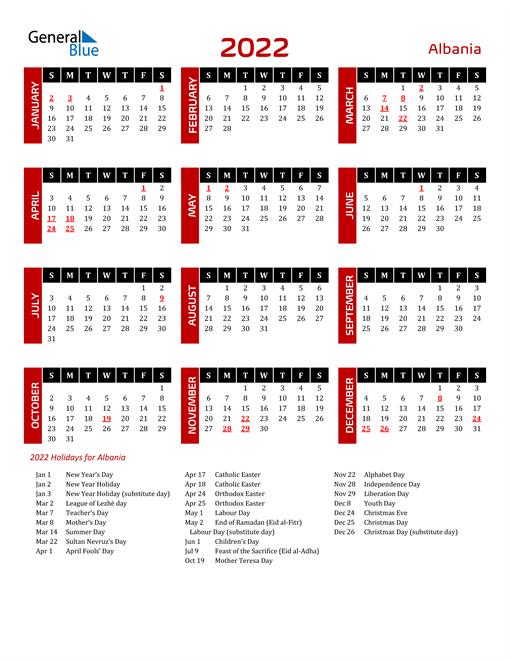 Download Albania 2022 Calendar
