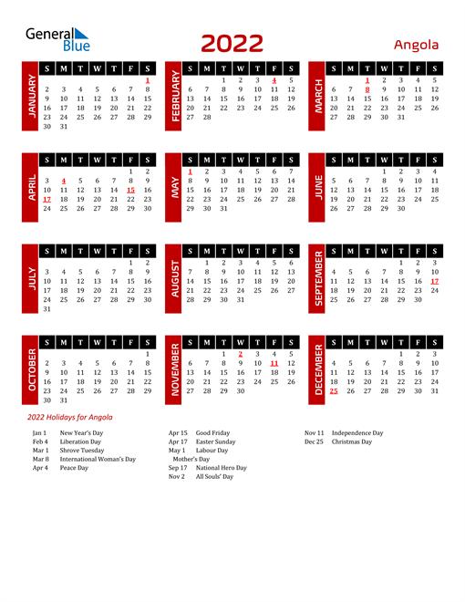 Download Angola 2022 Calendar