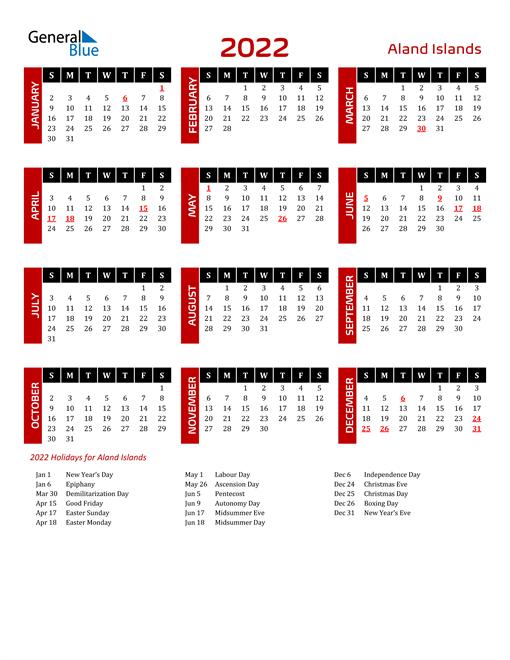 Download Aland Islands 2022 Calendar