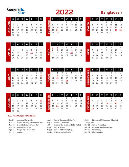 Download Bangladesh 2022 Calendar
