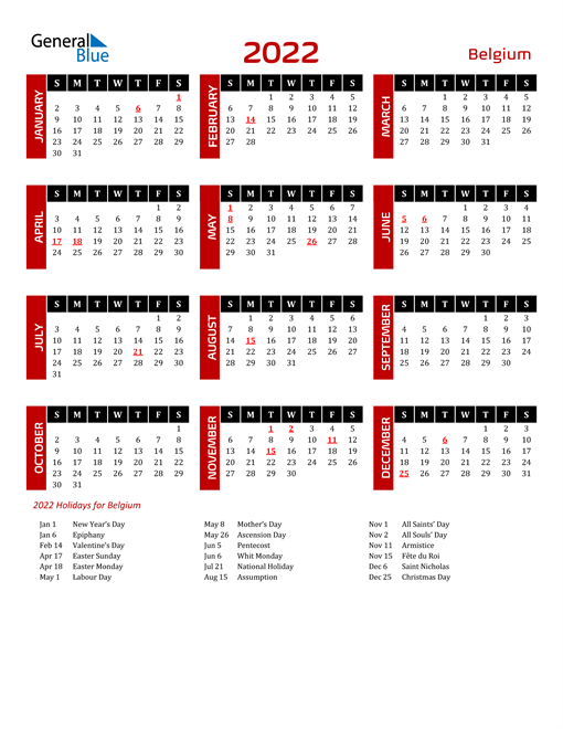 Download Belgium 2022 Calendar