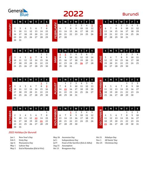 Download Burundi 2022 Calendar