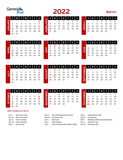 Download Benin 2022 Calendar