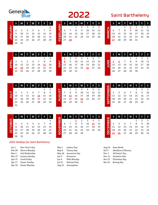 Download Saint Barthelemy 2022 Calendar