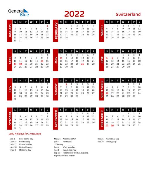 Download Switzerland 2022 Calendar