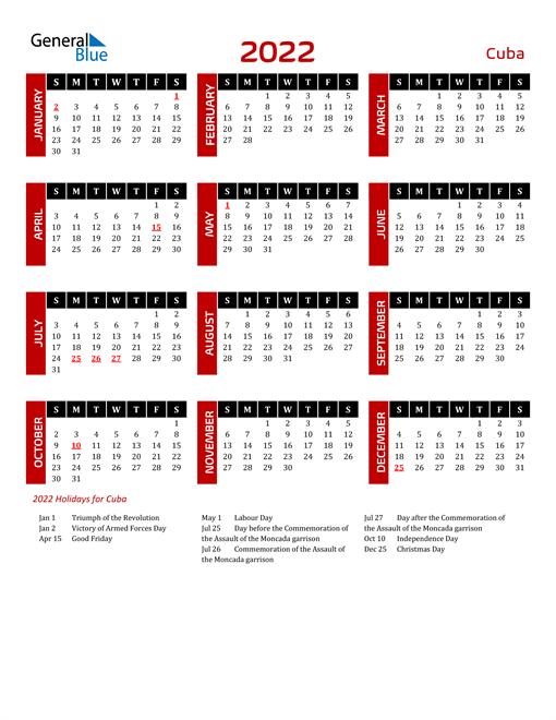 Download Cuba 2022 Calendar