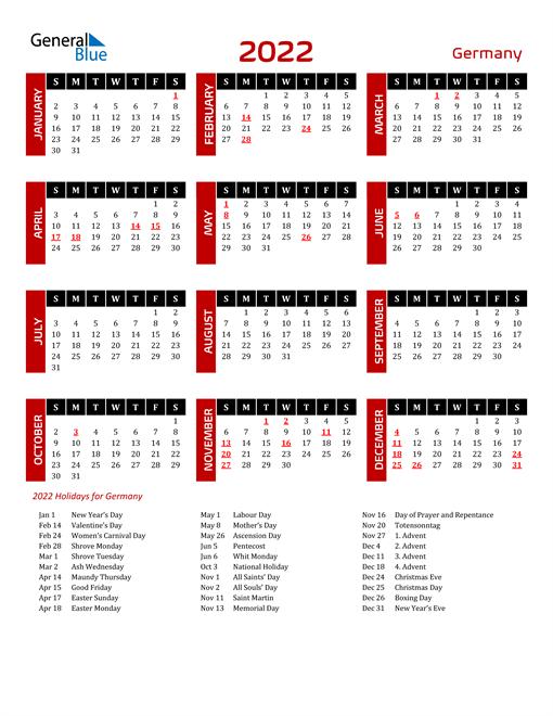 Download Germany 2022 Calendar