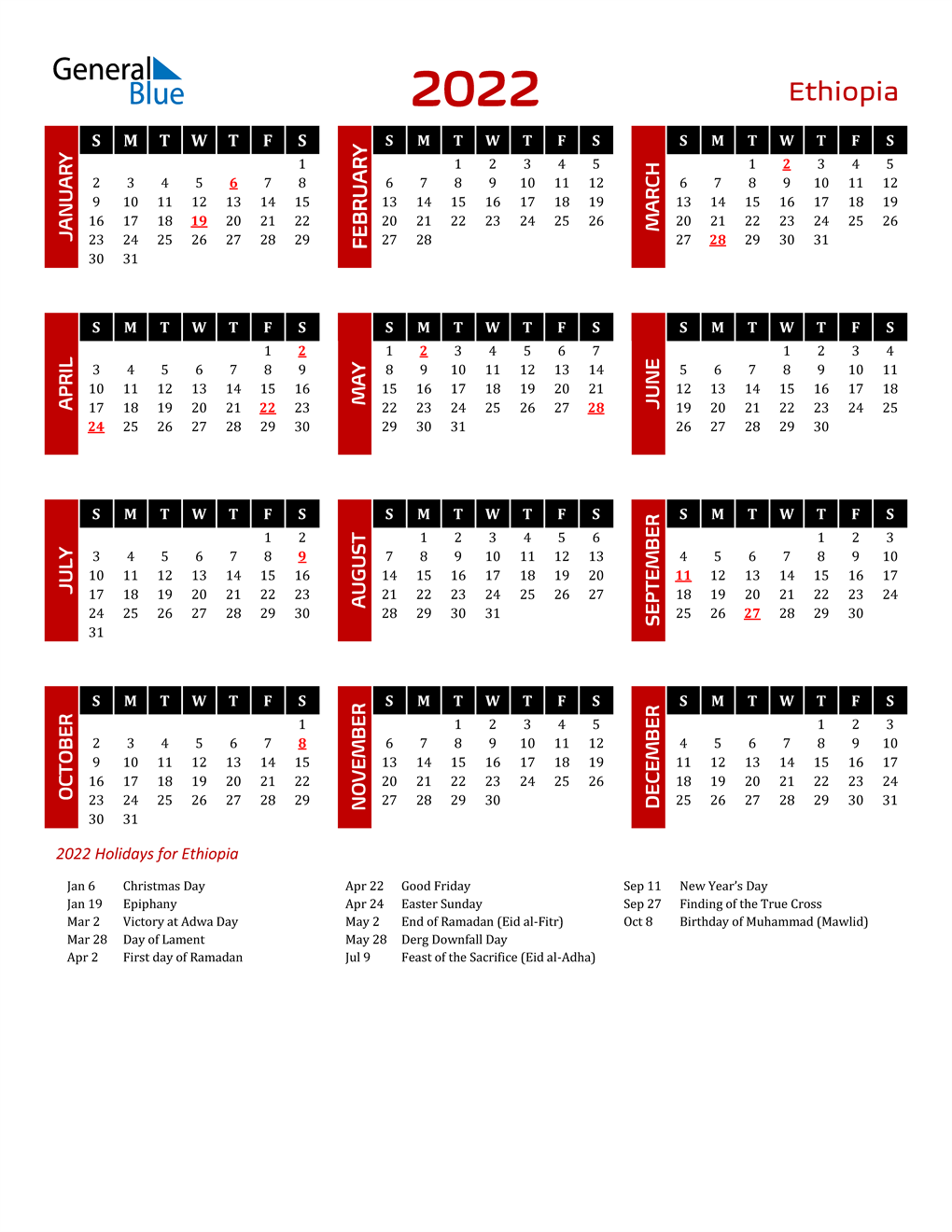 2022 Ethiopia Calendar With Holidays