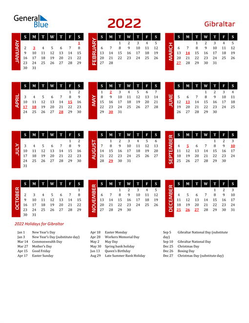Download Gibraltar 2022 Calendar