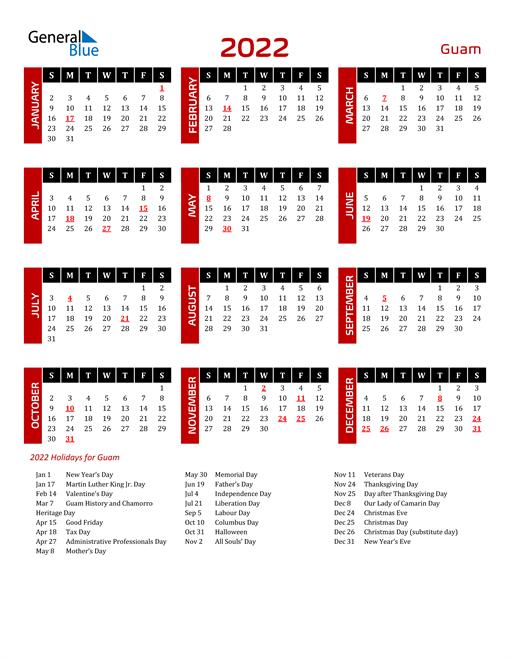 Download Guam 2022 Calendar