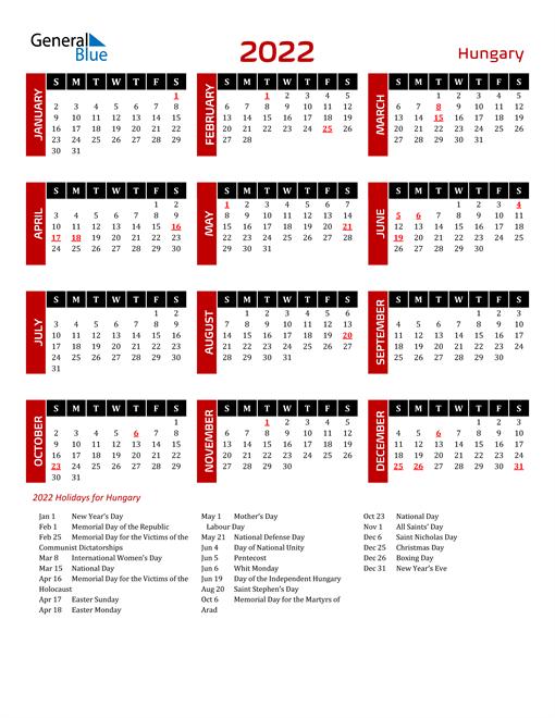 Download Hungary 2022 Calendar