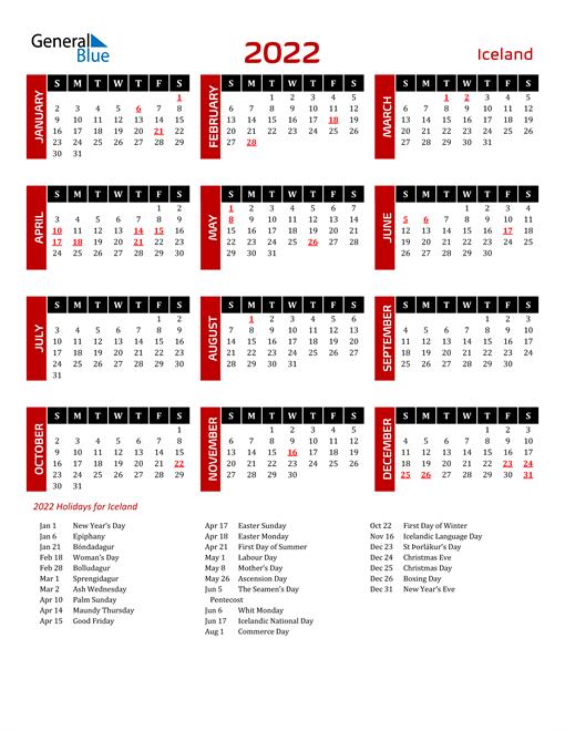 Download Iceland 2022 Calendar