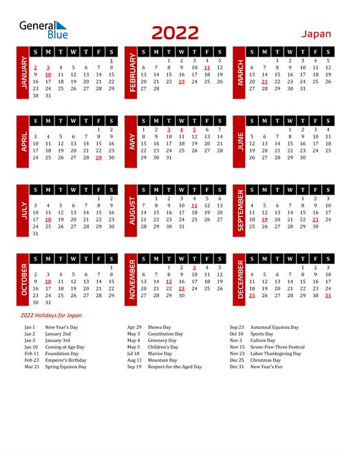 Download Japan 2022 Calendar
