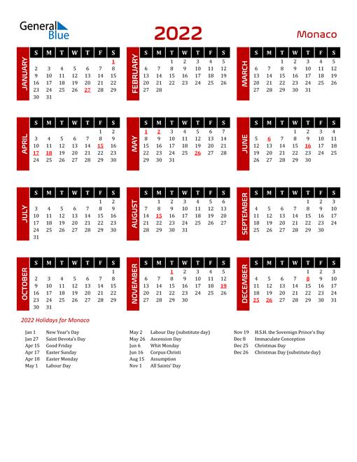 Download Monaco 2022 Calendar